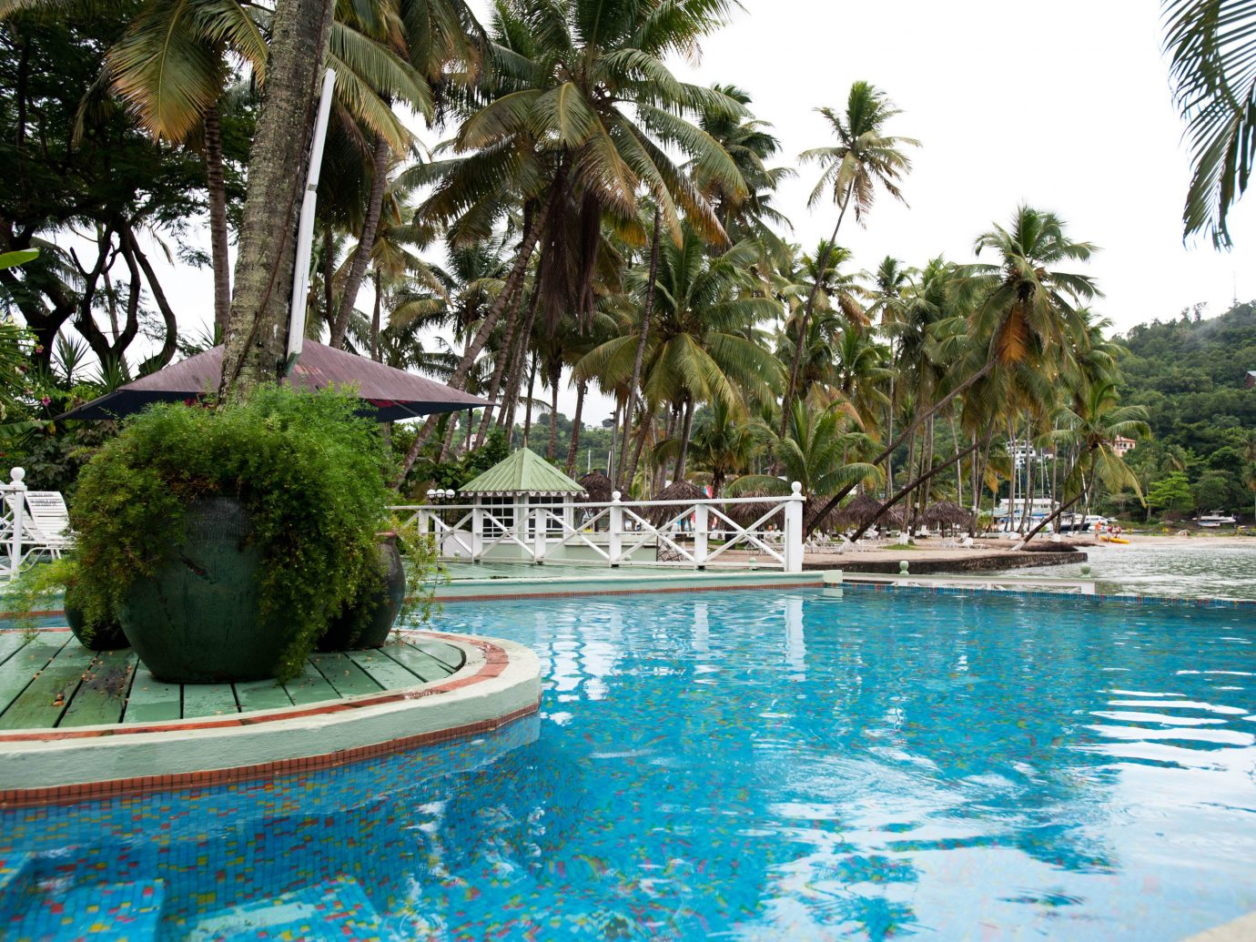 Hotels tree water outdoor Pool swimming pool property Resort vacation plant estate arecales resort town caribbean Villa Lagoon palm blue swimming