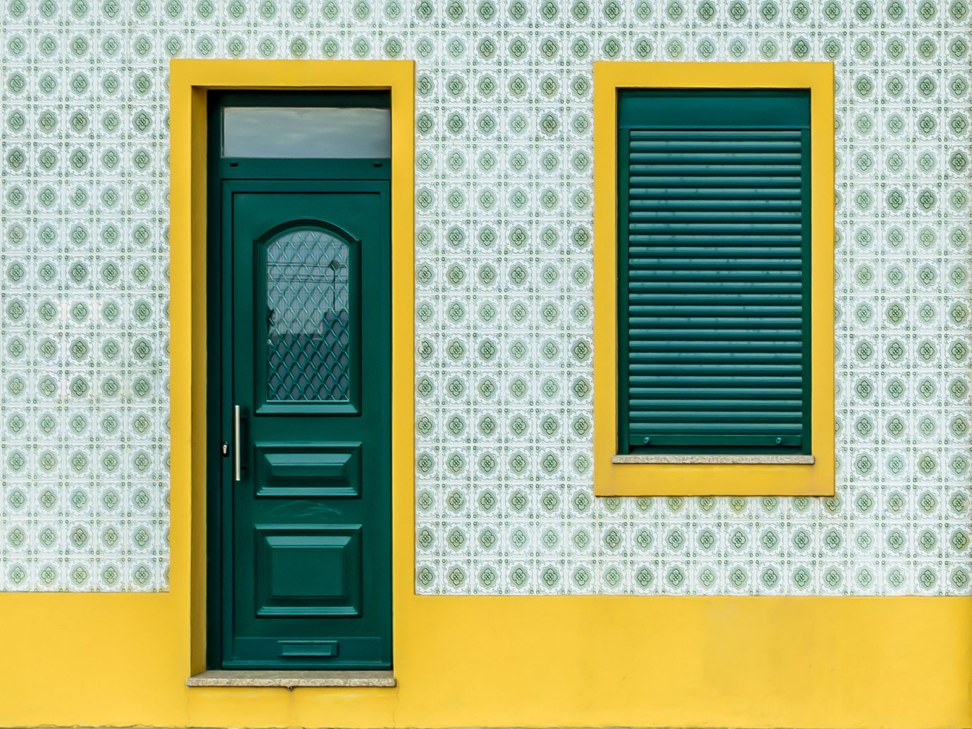 Offbeat yellow color door product picture frame window interior design window covering Design colored