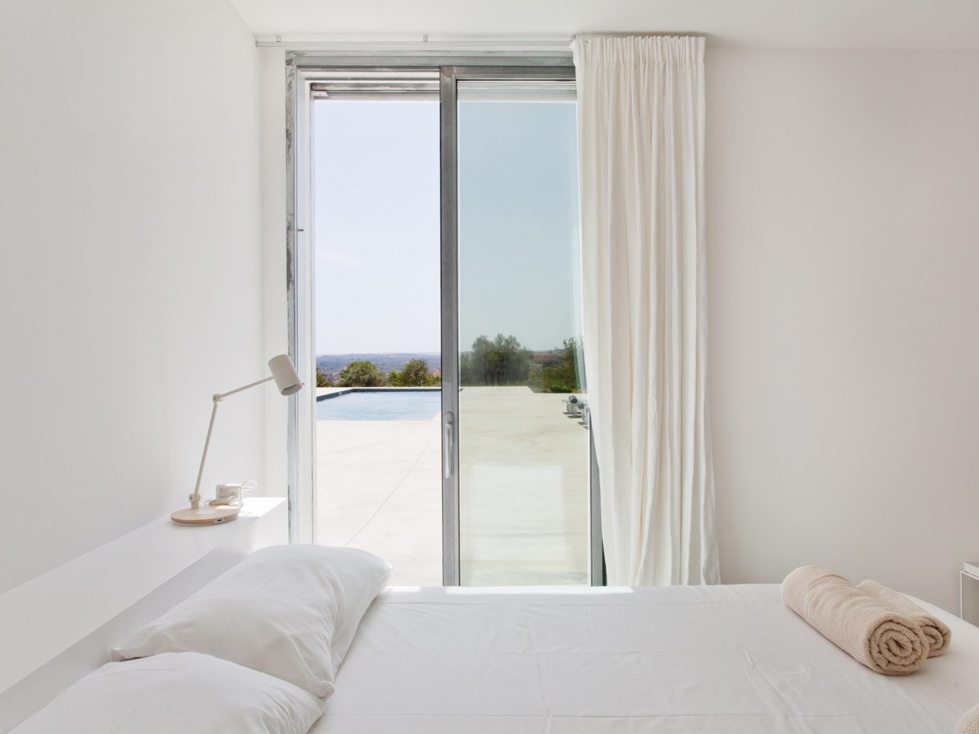 indoor wall bed window room white property Bedroom interior design pillow cottage Suite real estate apartment curtain