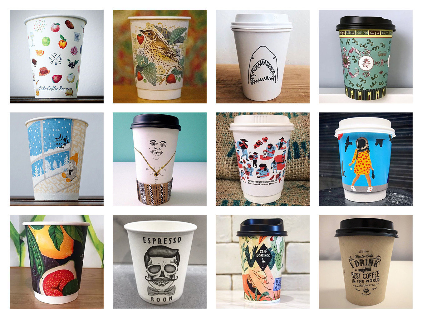 Food + Drink Influencers + Tastemakers coffee cup different cup mug tableware flowerpot product ceramic drinkware coffee cup sleeve plastic product design drink sleeve Dixie cup colored several