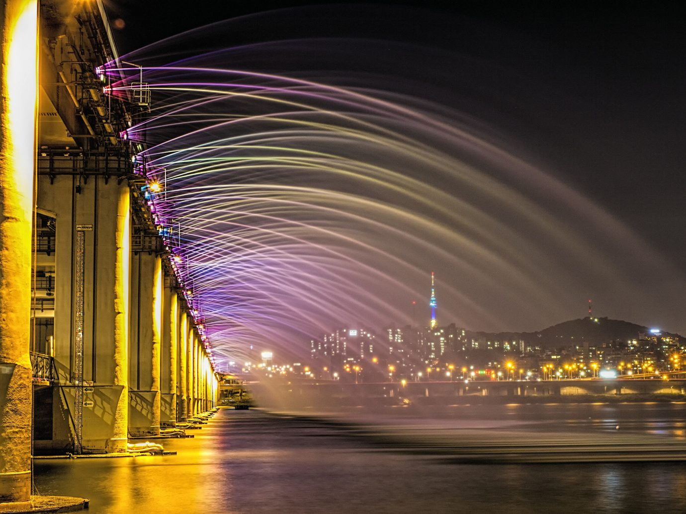 Offbeat outdoor night light reflection darkness cityscape evening lighting bridge infrastructure several