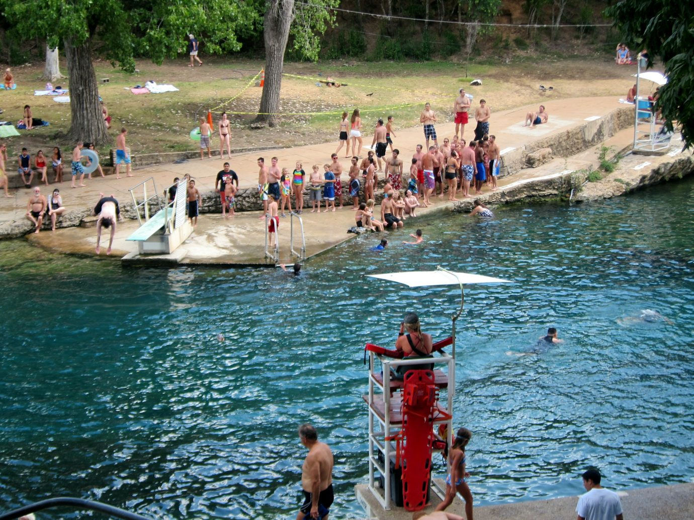 Offbeat water tree outdoor boating tourism vacation Boat vehicle Sea swimming pool endurance sports people swimming several