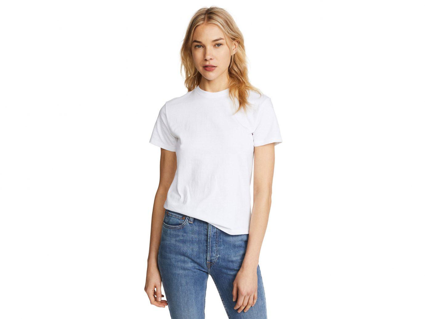 Celebs Style + Design Travel Shop person clothing white sleeve standing shoulder t shirt neck jeans pocket fashion model joint denim posing trouser