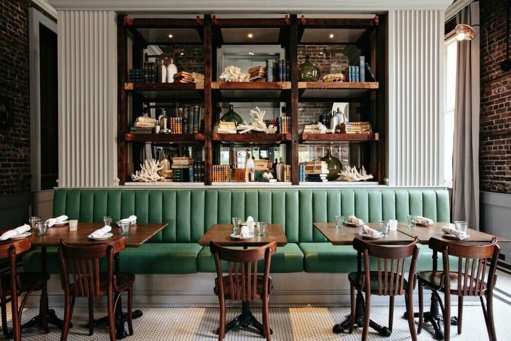 artistic artsy chic cozy Dining Food + Drink Hip interior restaurant stylish tables trendy urban floor indoor chair dining room window room green home interior design Bar table estate Design furniture window covering set dining table