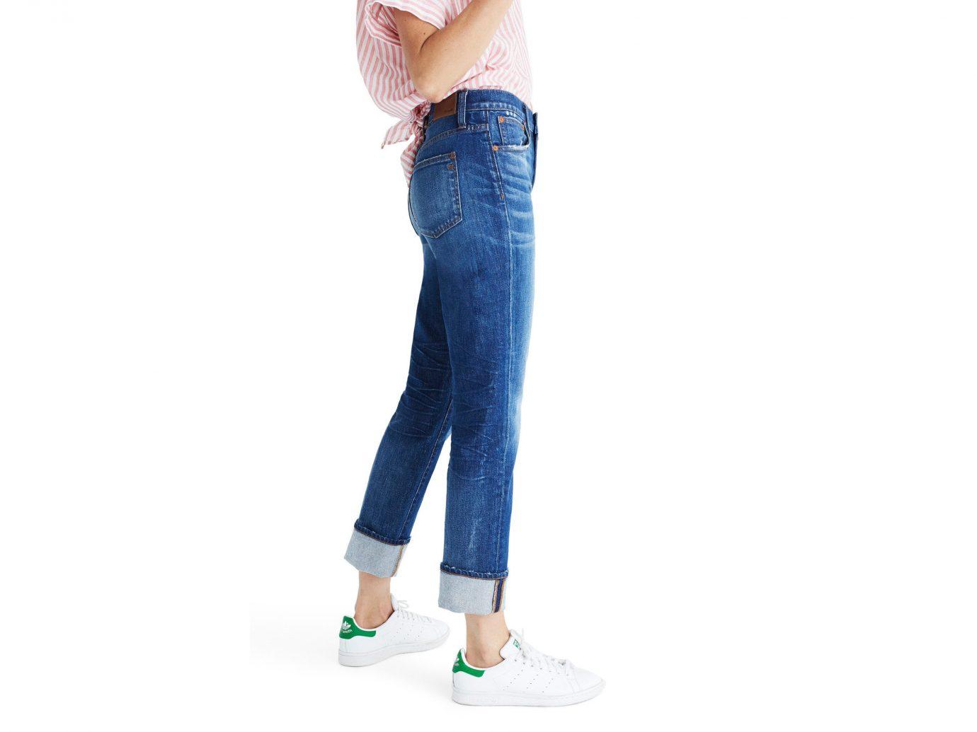 Style + Design person jeans denim standing wearing electric blue waist joint trousers human leg trouser shoe abdomen
