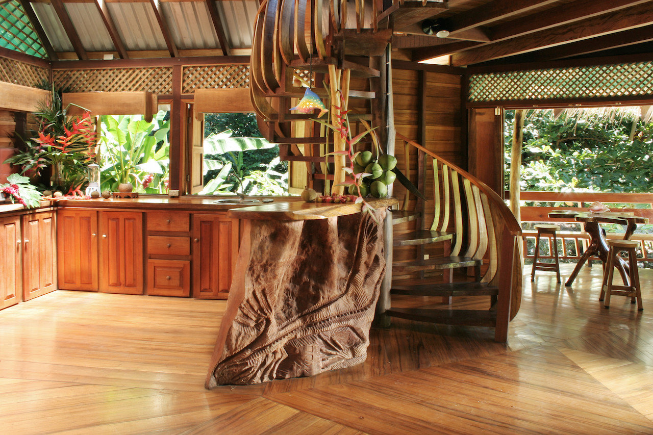 Spiral staircase in a room at Tree House Hotel in Punta Uva Costa Rica