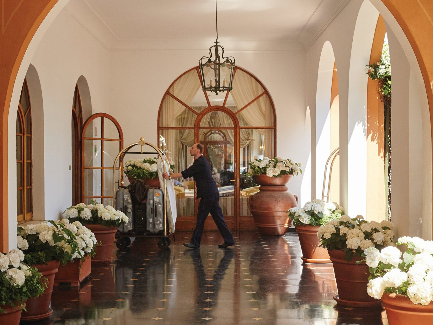 Hotels Luxury Travel arch interior design flower home chapel floristry place of worship aisle function hall hacienda Lobby ceremony