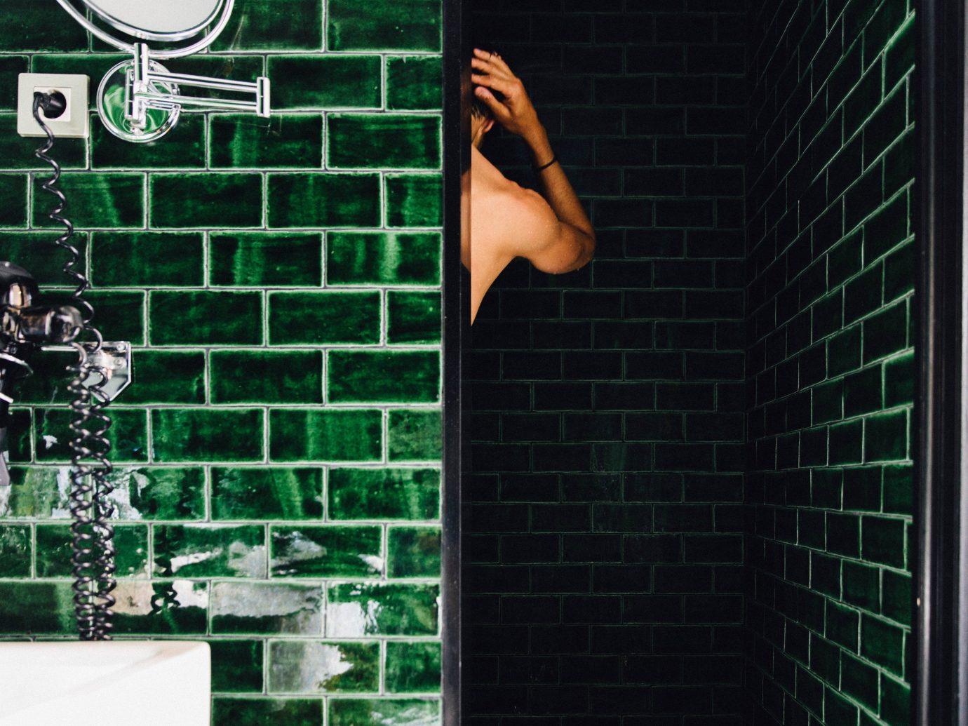 Hotels color green black wall light art lighting interior design window Design tiled
