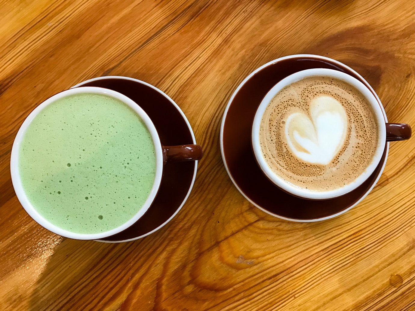 Brooklyn City Food + Drink NYC table cup coffee indoor latte food wooden coffee cup espresso café au lait cappuccino caffeine tea flat white Drink coffee milk cuban espresso caffè macchiato saucer instant coffee mocaccino beverage doppio