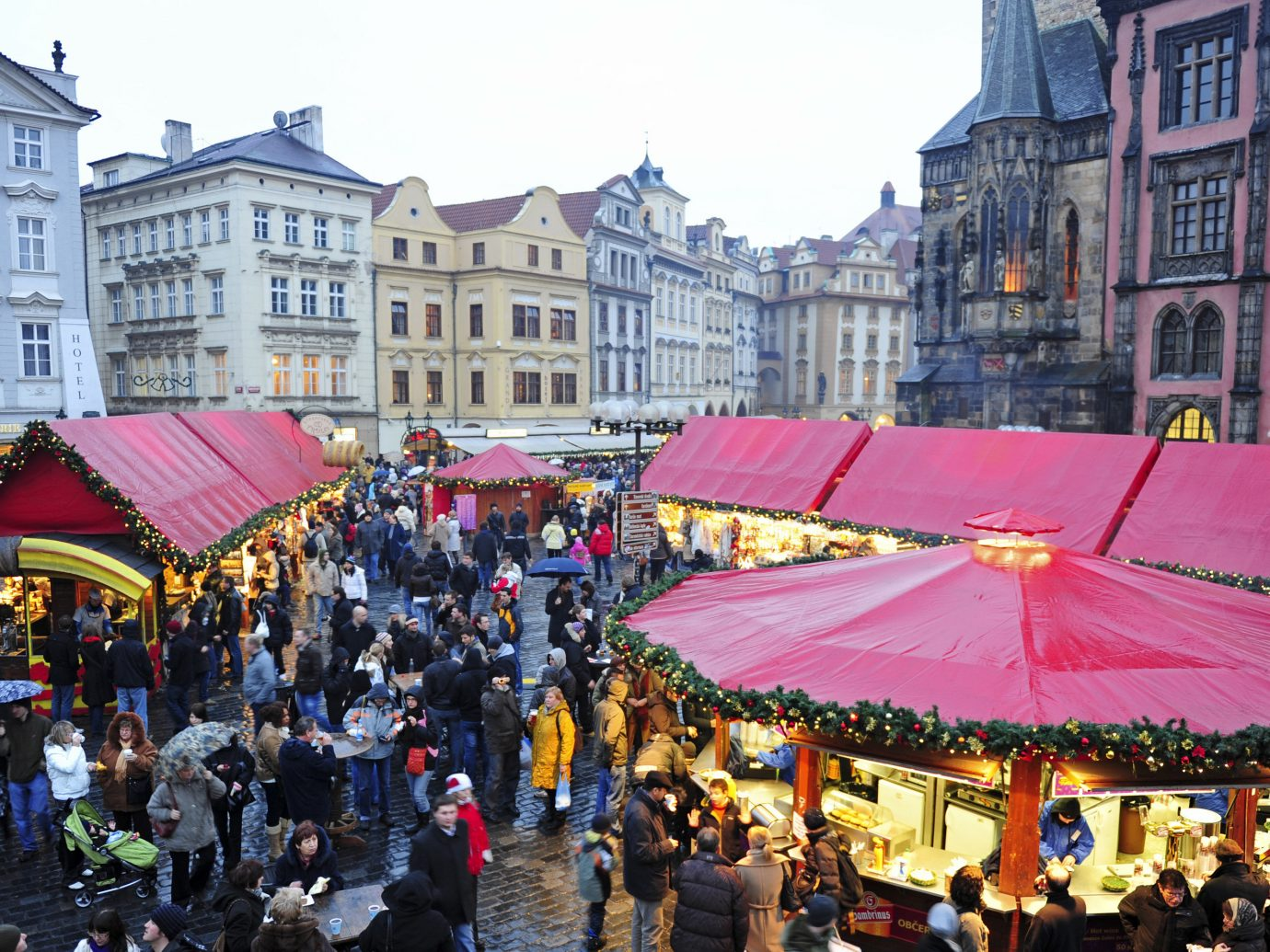 Trip Ideas Winter building outdoor people crowd person Town group market festival carnival City crowded line