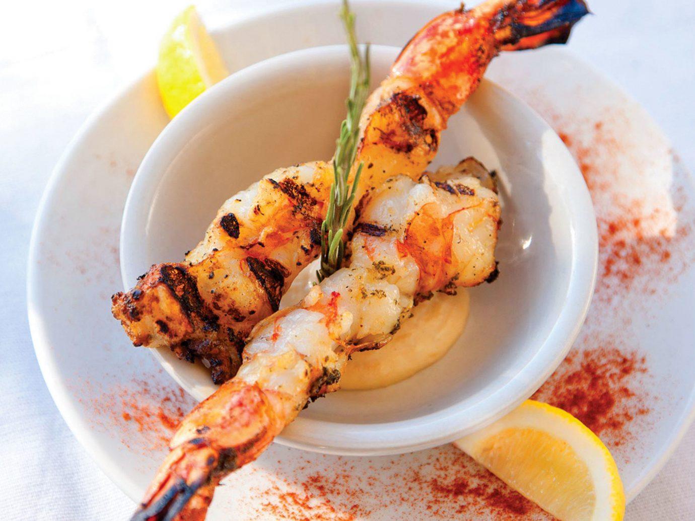 Trip Ideas plate food dish Seafood grilled food animal source foods shrimp brochette skewer satay scampi recipe souvlaki greek food cuisine mediterranean food kebab