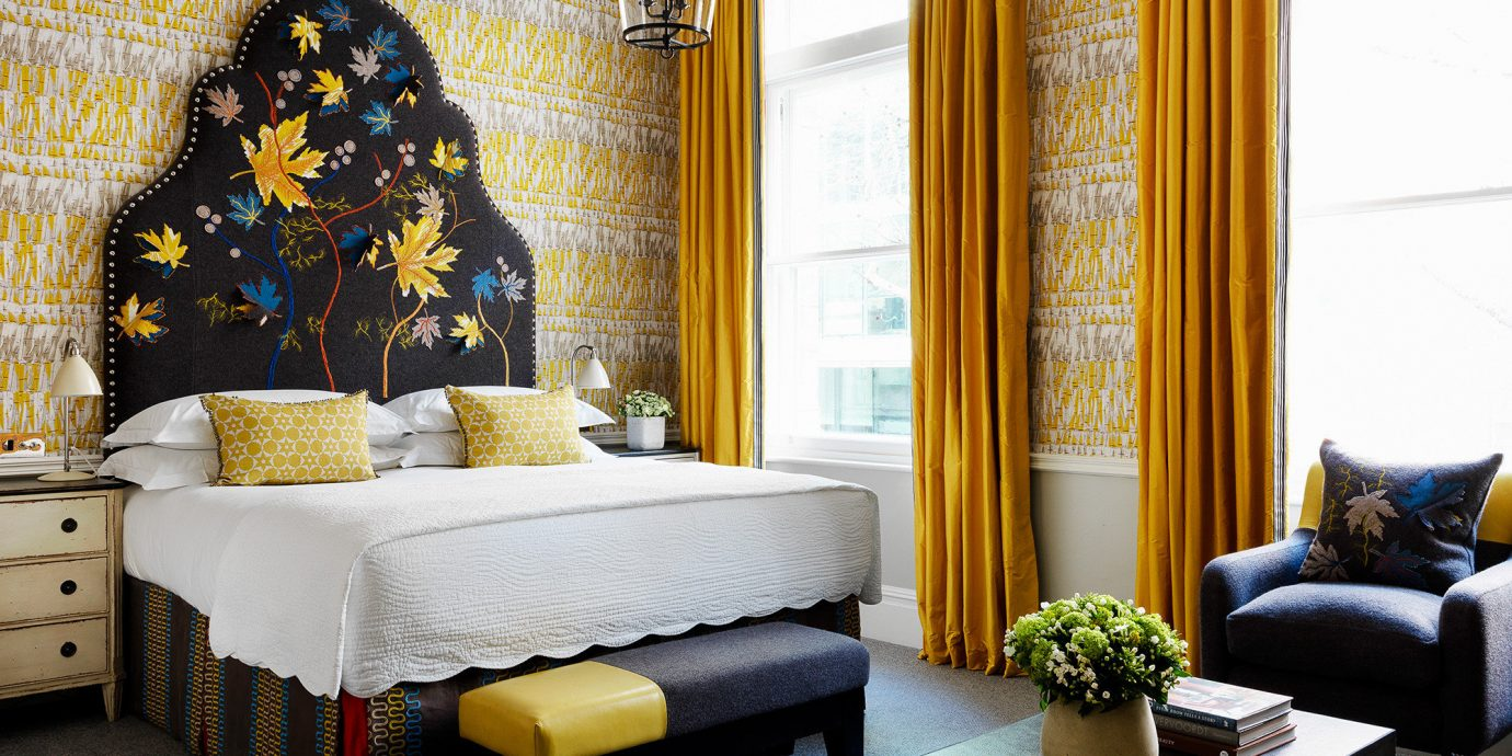 Boutique Hotels London Romantic Hotels indoor yellow room floor interior design living room wall home furniture Bedroom Suite window ceiling window treatment couch curtain bed bed frame interior designer decor
