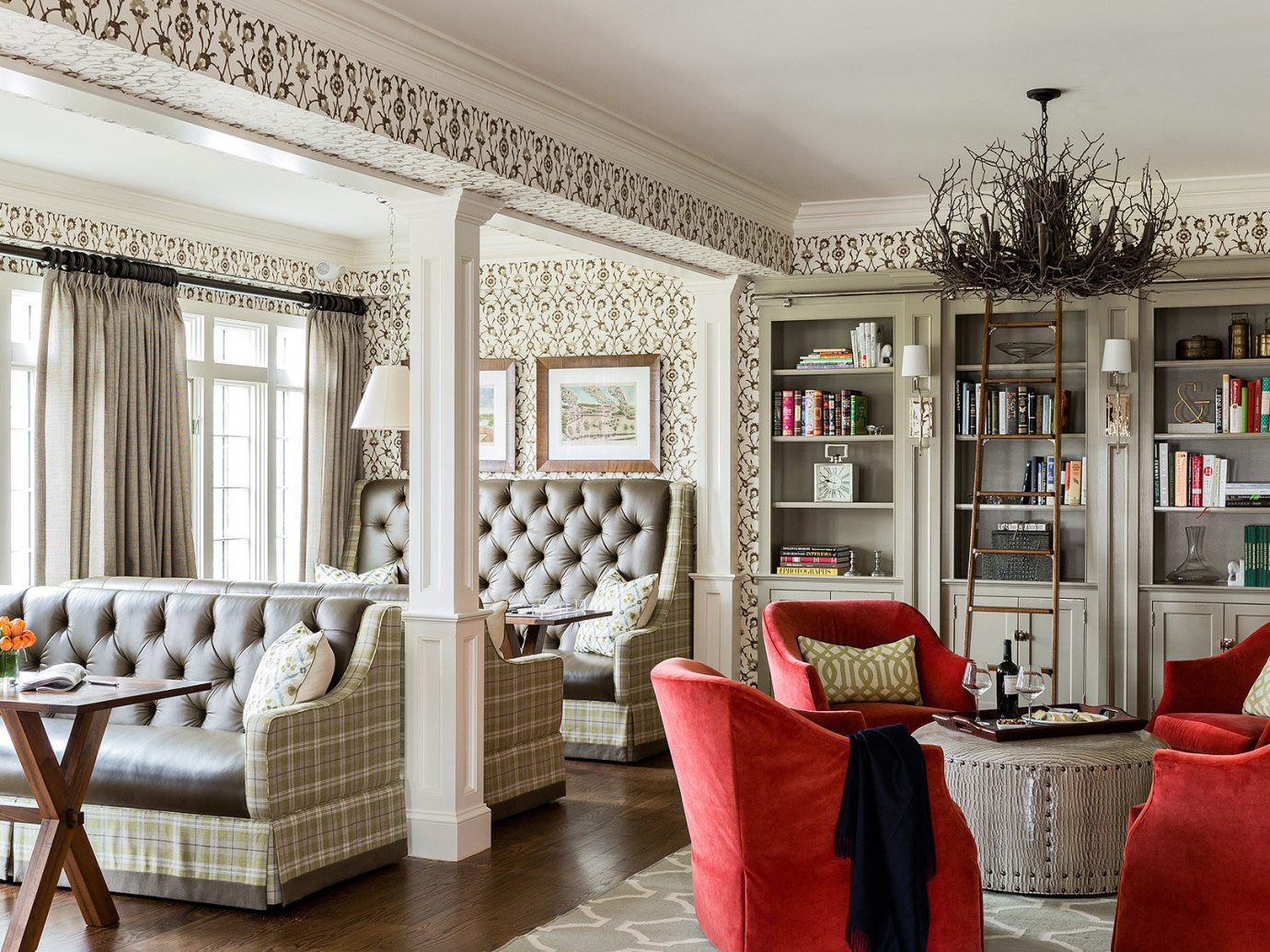 Boutique Classic Dining Drink Eat Hotels Inn indoor floor Living room living room property chair home red interior design estate furniture Design real estate mansion window covering porch decorated