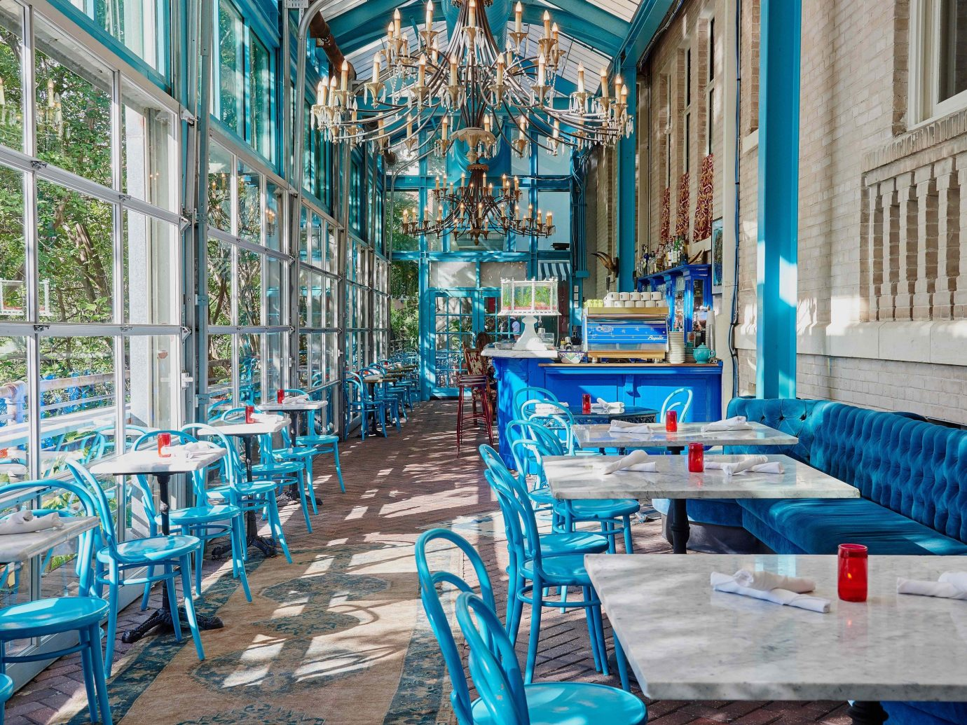 Budget building color ground outdoor blue chair estate home Resort interior design restaurant