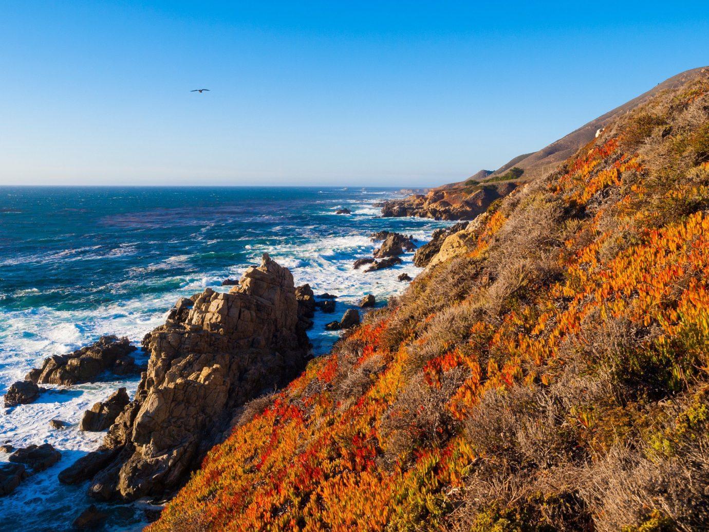 View of the ocean in Big Sur in California