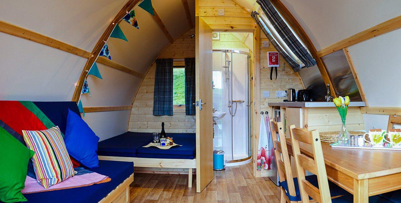 Glamping Outdoors + Adventure Trip Ideas floor indoor wall room interior design furniture house table loft hostel