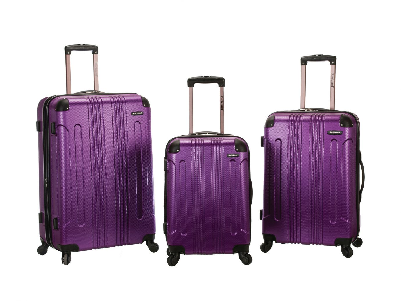 Rockland Sonic Luggage Set, Packing Tips Style + Design Travel Shop luggage suitcase purple violet piece product bag hand luggage product design luggage & bags magenta baggage brand colored different