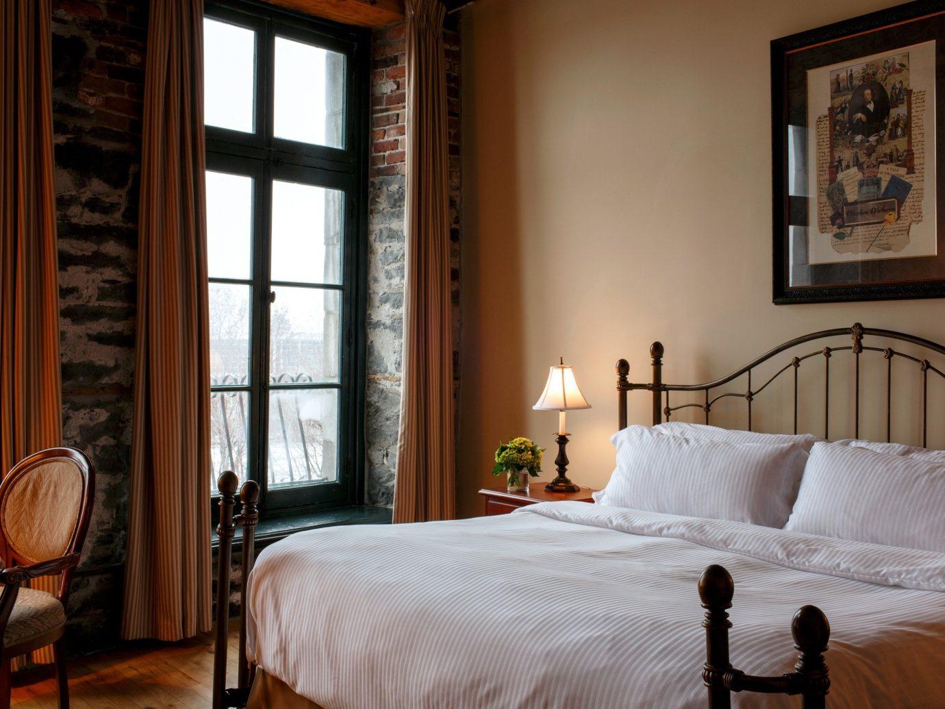 Romantic bedroom at Auberge du Vieux-Port, Montreal