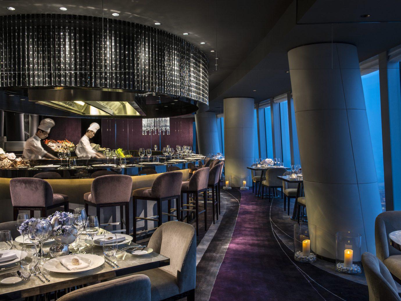 Food + Drink indoor ceiling interior design theatre restaurant Bar area furniture
