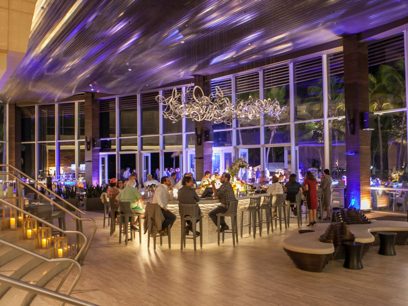 Food + Drink floor building indoor function hall shopping mall Lobby convention center interior design ballroom Resort auditorium night