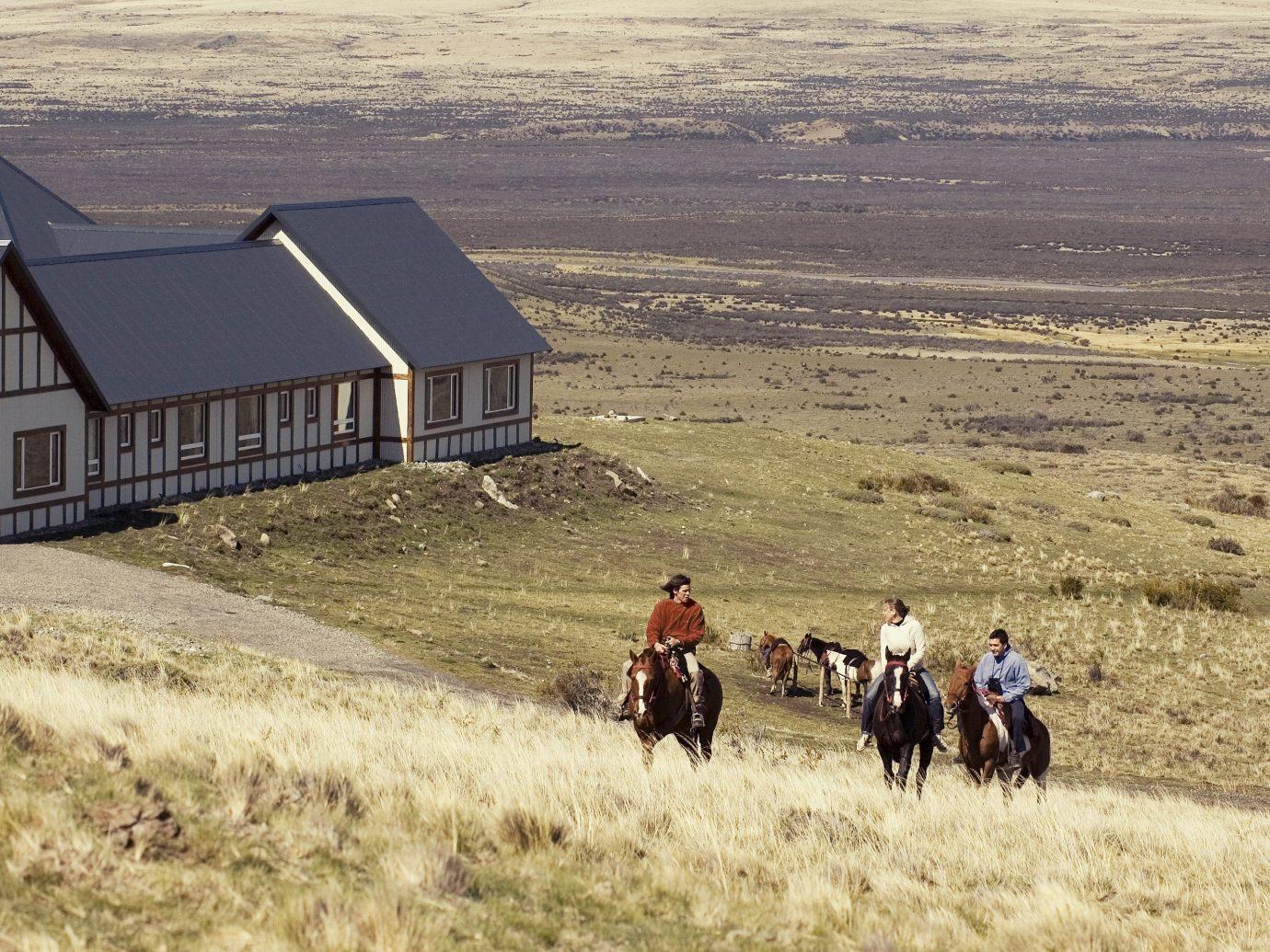 Hotels Outdoors + Adventure grass outdoor field horse prairie rural area Farm landscape agriculture Ranch open horse like mammal farm building barn plain highland