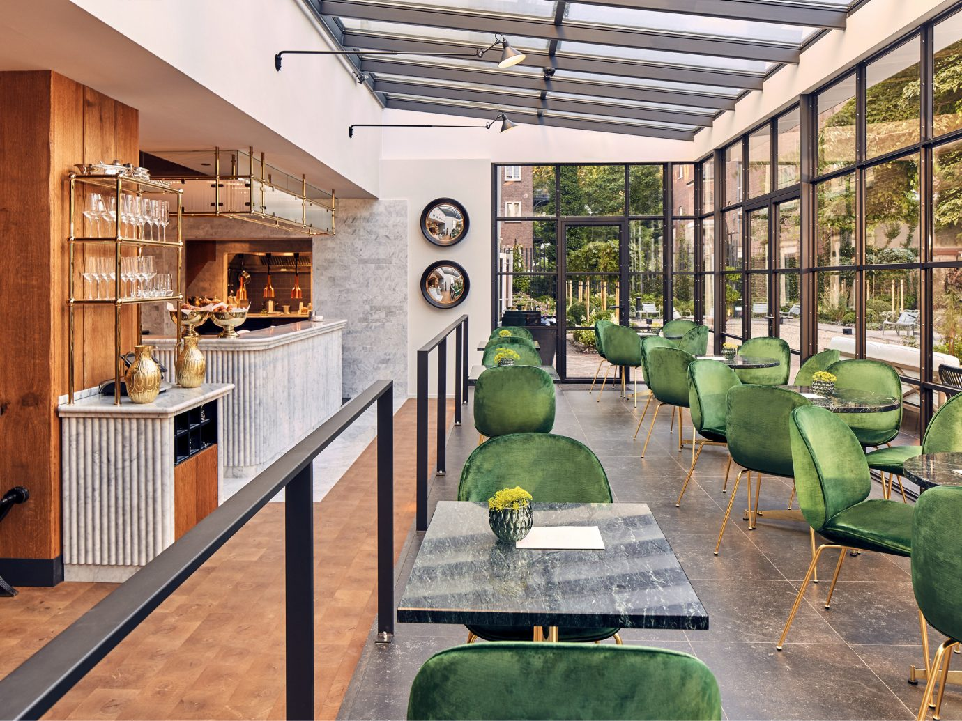 Amsterdam Boutique Hotels Hotels The Netherlands green indoor property room building estate home house real estate interior design backyard Courtyard outdoor structure farmhouse cottage furniture area
