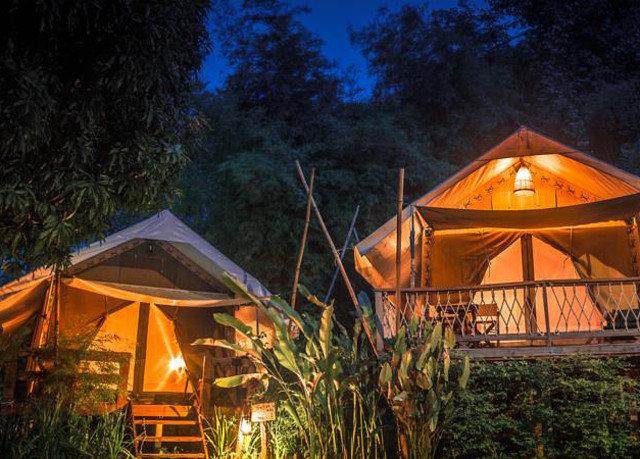 tree house hut building Resort home log cabin cottage tent landscape lighting lush