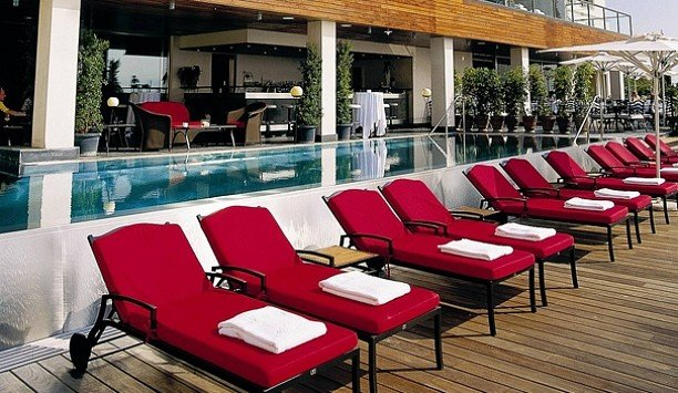 chair red leisure outdoor furniture Resort sunlounger swimming pool restaurant flooring dining table