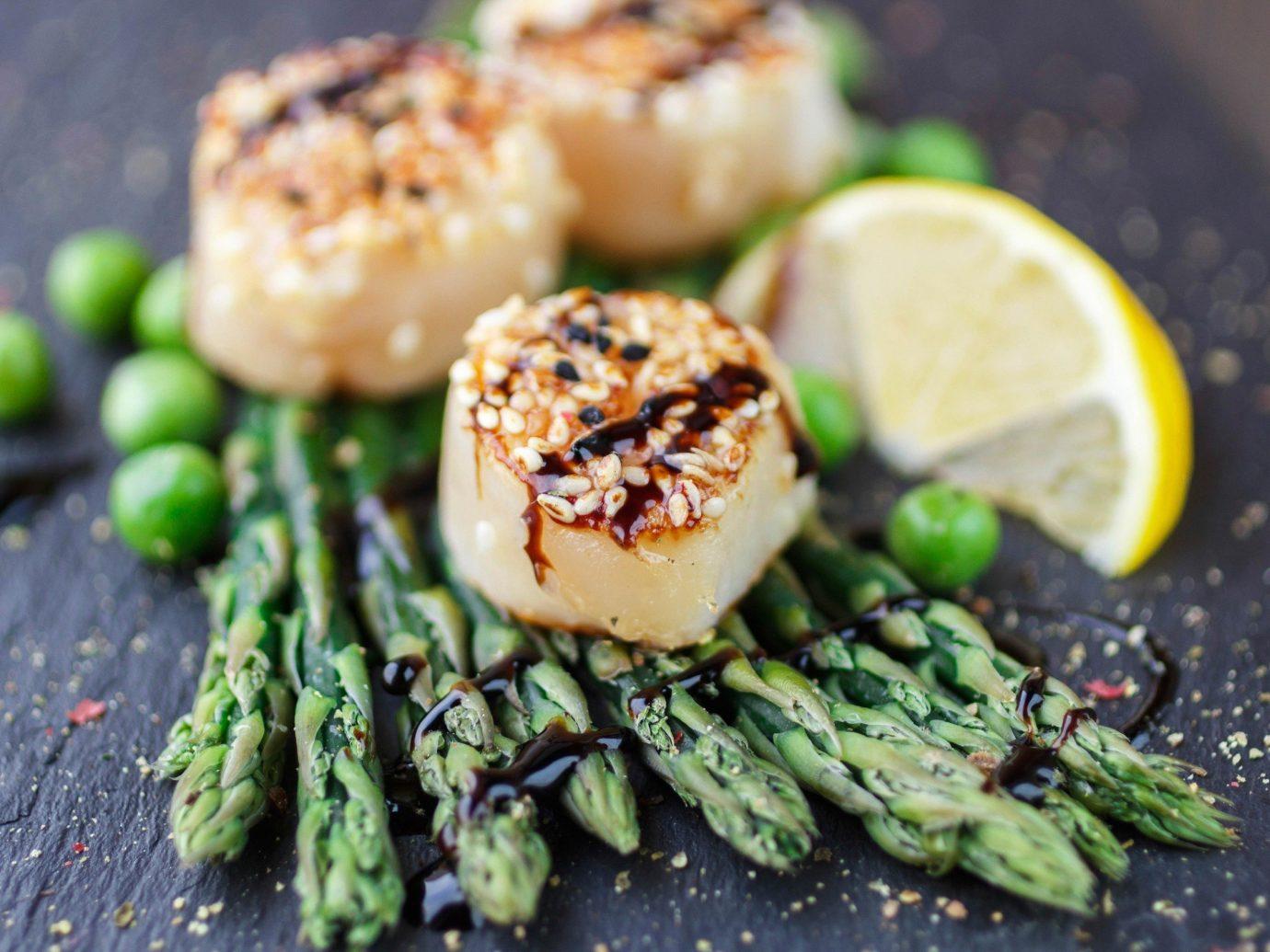 Food + Drink food dish produce vegetable Seafood cuisine invertebrate vegetarian food asparagus saute