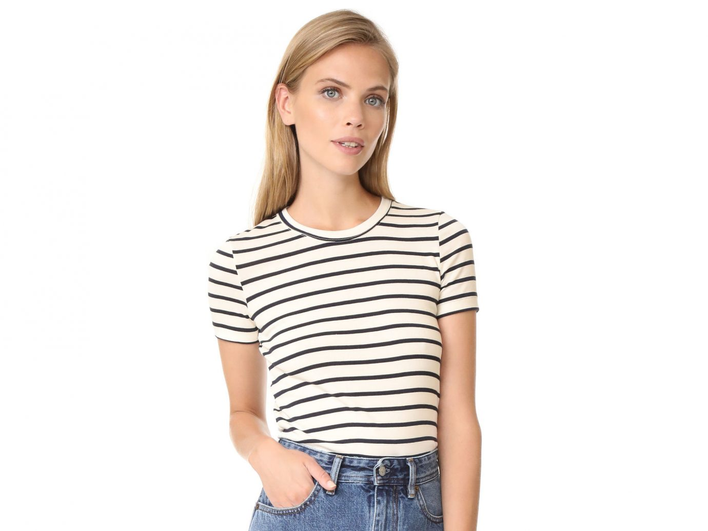 Style + Design Travel Shop person clothing sleeve t shirt shoulder neck young fashion model joint striped posing product long sleeved t shirt top