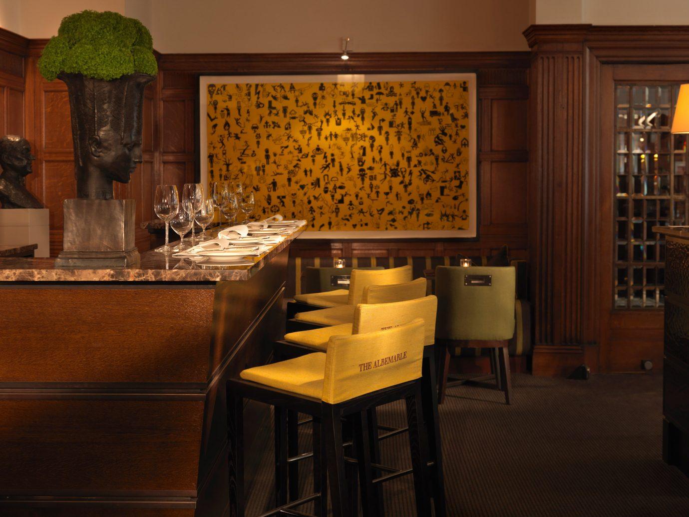 Bar Dining Drink Eat Elegant Hotels London Luxury Travel indoor floor wall room home interior design restaurant estate wood Kitchen cabinetry Design dining room