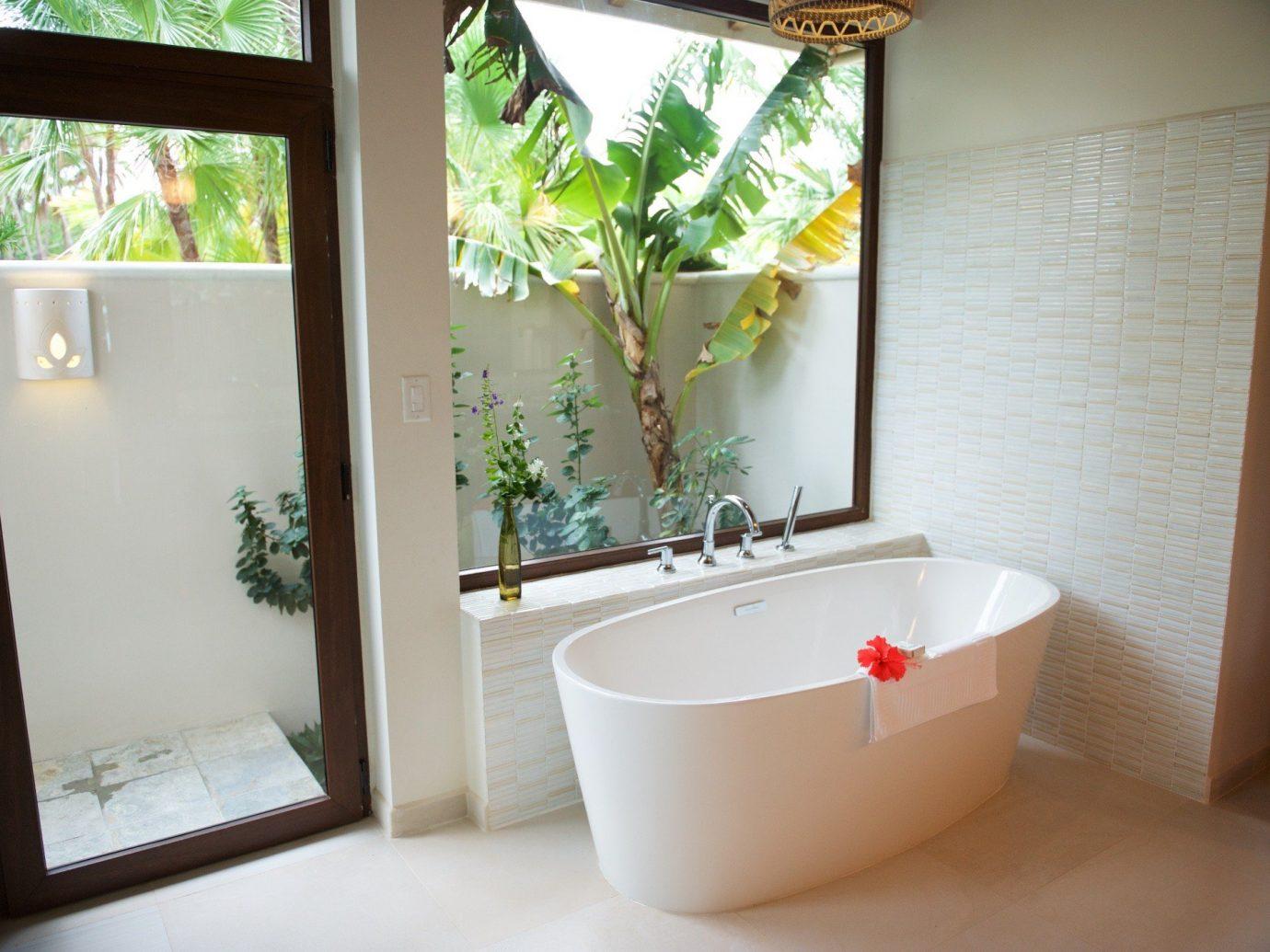Trip Ideas wall indoor bathroom room window property house bathtub home white interior design plumbing fixture sink Design tub cottage Bath tiled