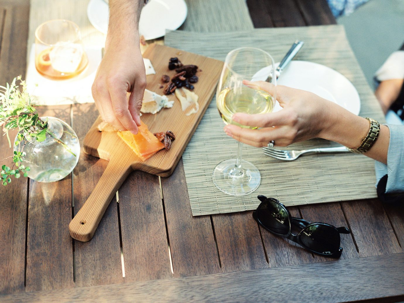 People drinking wine and eating charcuterie at Zero George Street