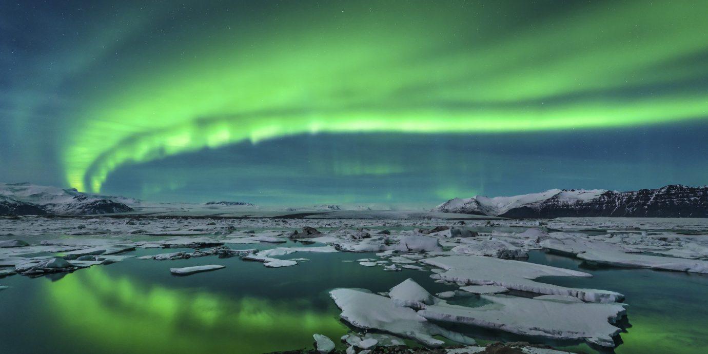 Iceland Trip Ideas water outdoor aurora Nature atmosphere reflection
