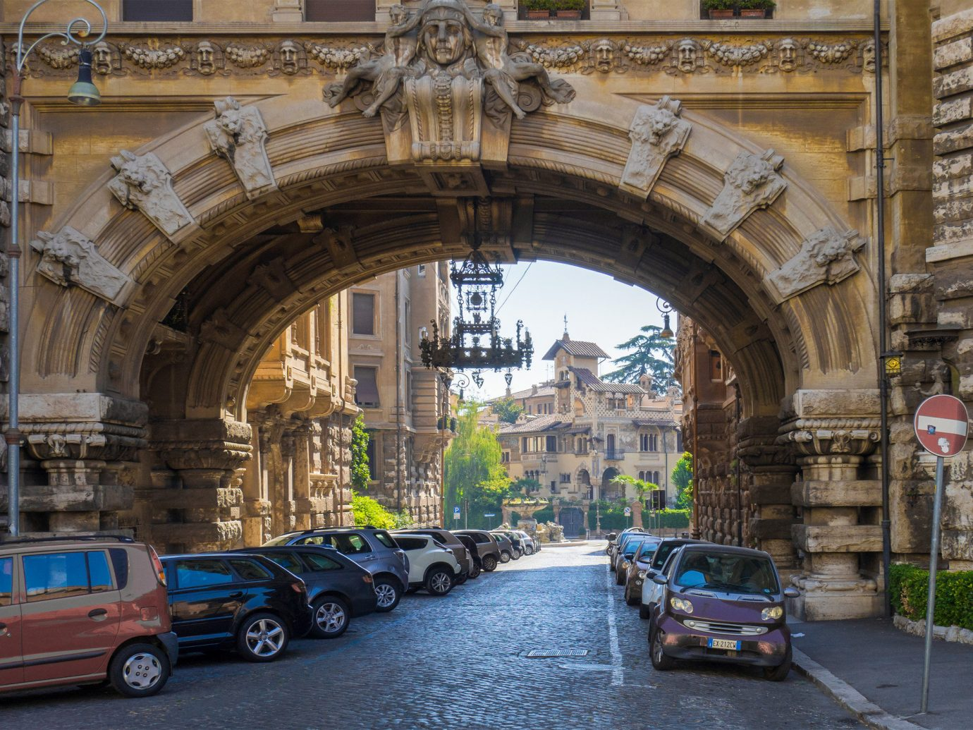 Travel Tips building outdoor arch landmark car Town Architecture way City street facade medieval architecture sky sidewalk stone