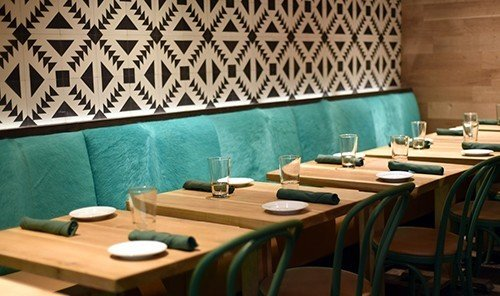 Food + Drink table room indoor restaurant green interior design function hall meal area set dining room dining table