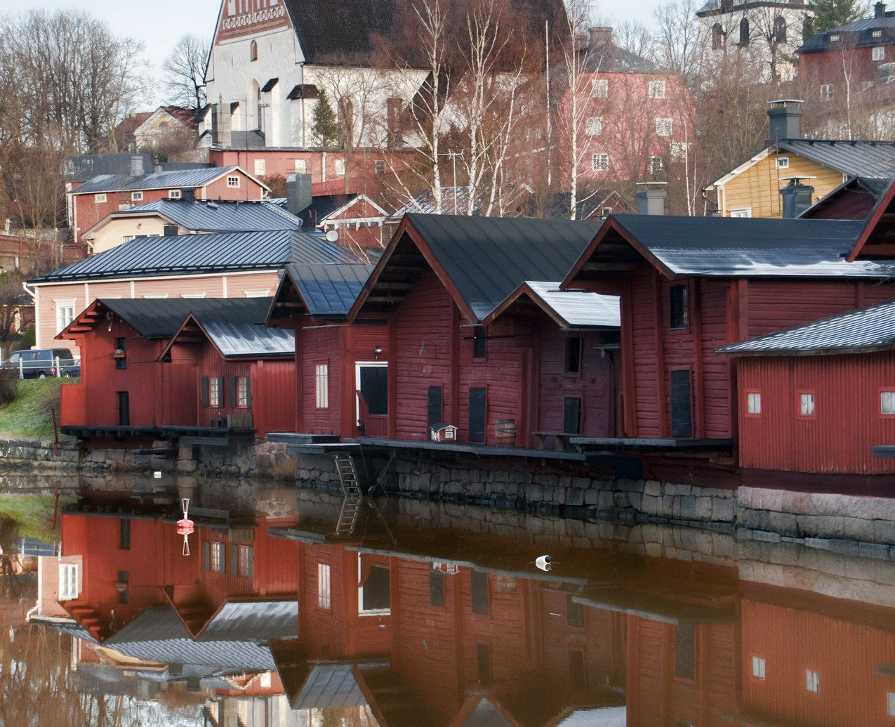 Finland Trip Ideas building outdoor reflection house Winter water River Town season snow waterway vehicle dock boathouse