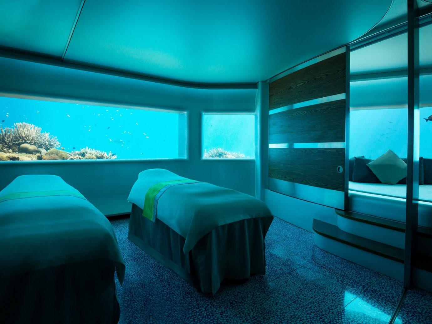 Scuba Diving + Snorkeling Trip Ideas indoor bed window blue room light screenshot lighting interior design underwater computer wallpaper Design scenographer Bedroom