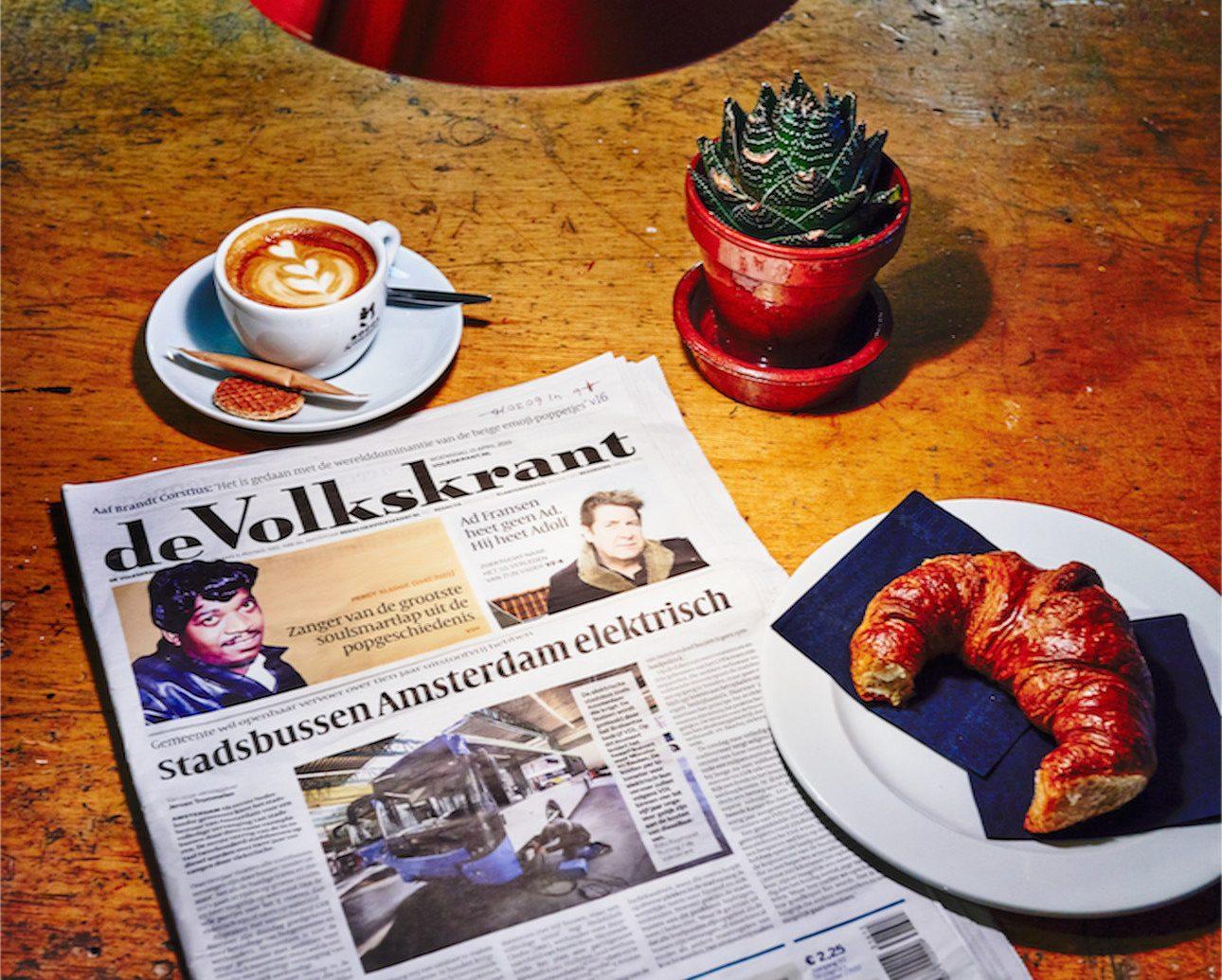 breakfast cappuccino coffee crossaints detail Drink Hotels newspaper pastry advertising set
