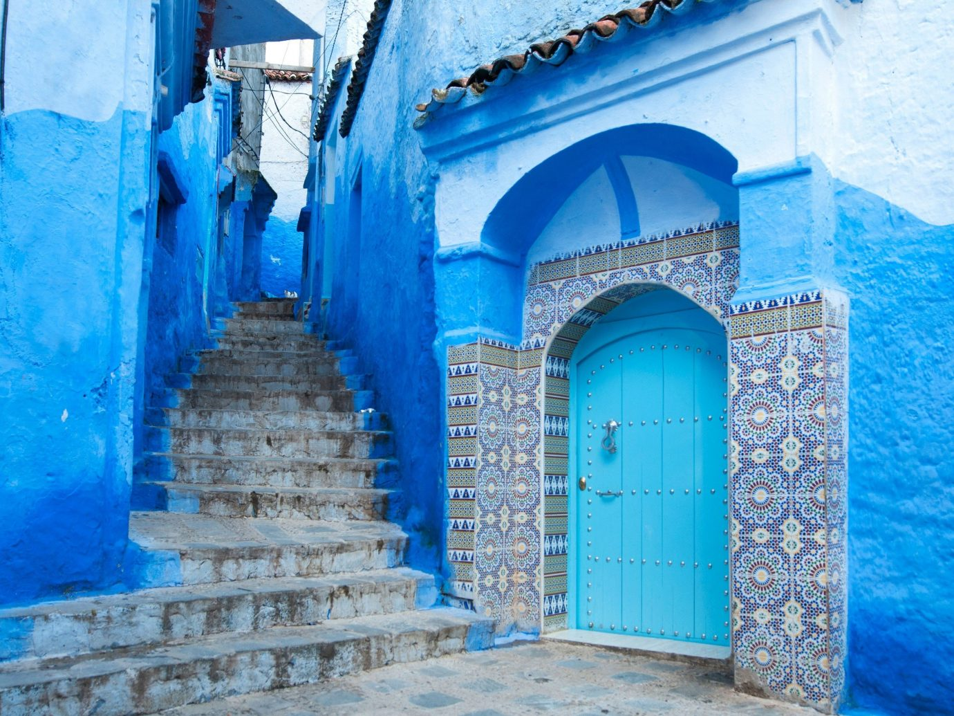 Trip Ideas color blue wall Architecture facade arch estate mansion