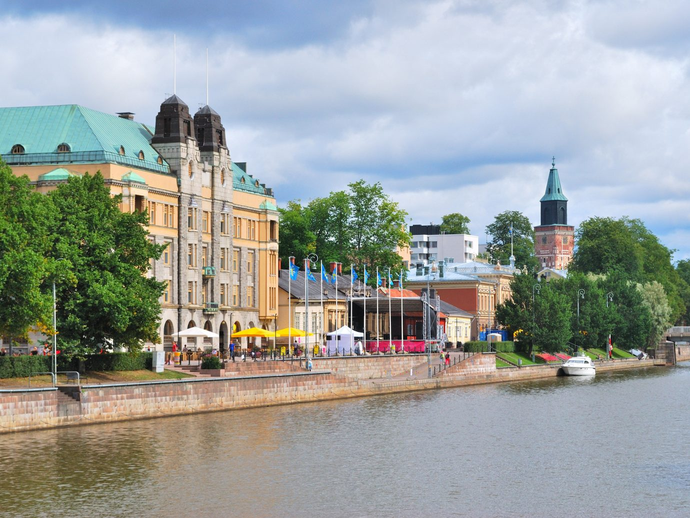 Finland Trip Ideas sky outdoor water waterway body of water Canal Town City River reflection bank tree Nature channel real estate water transportation watercourse Harbor Boat house