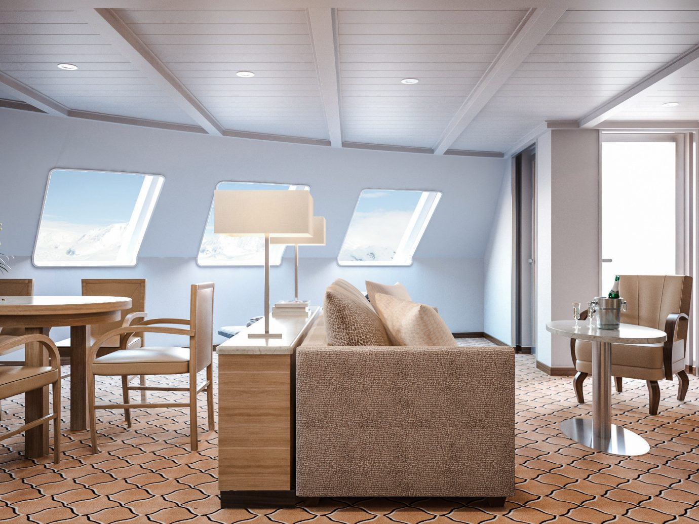 Cruise Travel Luxury Travel Trip Ideas indoor floor wall ceiling room chair Living interior design furniture Suite interior designer living room area several