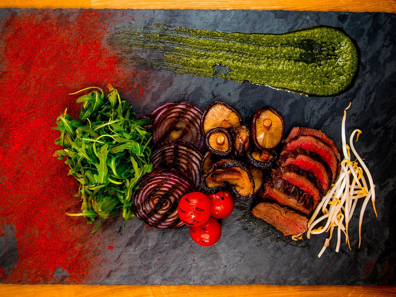 Food + Drink text book painting red still life art modern art acrylic paint illustration meal