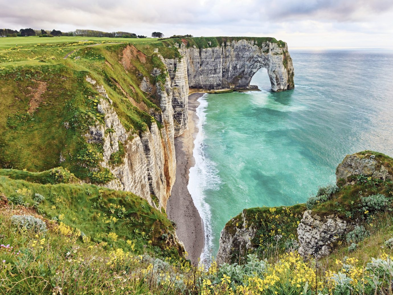 Offbeat outdoor rock grass cliff Coast Nature landform geographical feature body of water shore terrain Sea Ocean bay cape landscape cove water feature surrounded