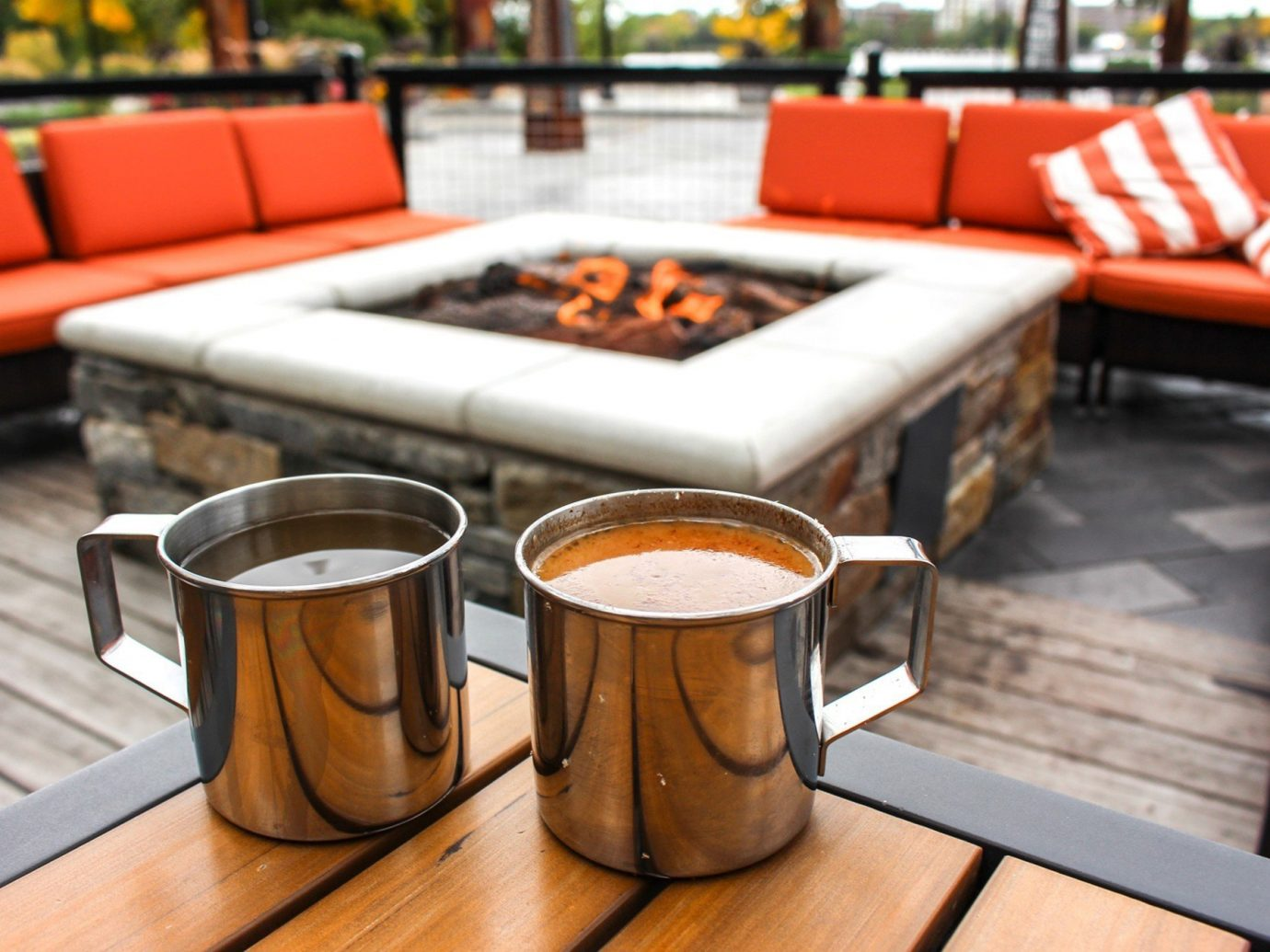 Food + Drink table room meal restaurant furniture Design interior design Bar living room brunch lunch orange