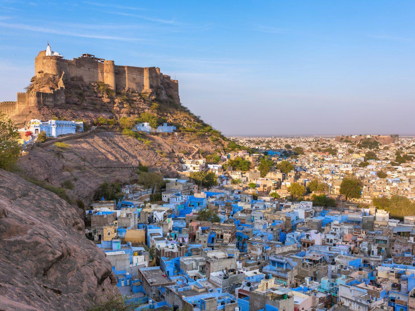 India Jaipur Jodhpur Trip Ideas outdoor sky City Town urban area rock Village Sea Coast tourism terrain tree mountain canyon hillside