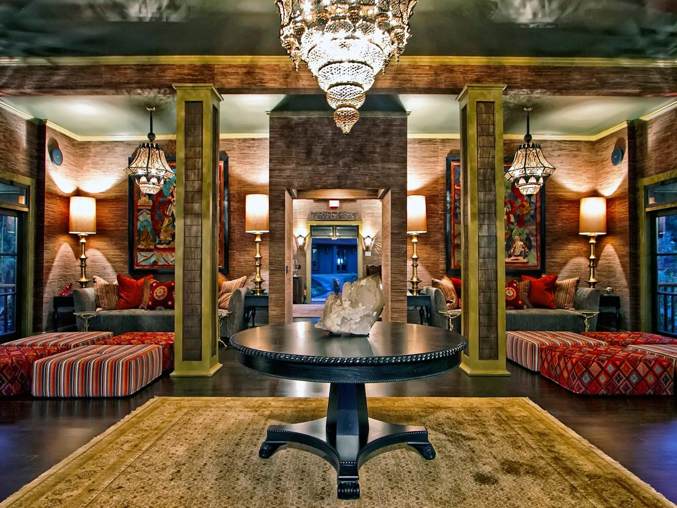 Beach Boutique Hotels Eco Hotels Lounge Luxury Travel Modern Romance indoor Lobby room Living estate interior design lighting mansion home furniture Bar screenshot decorated Boutique retail area colorful
