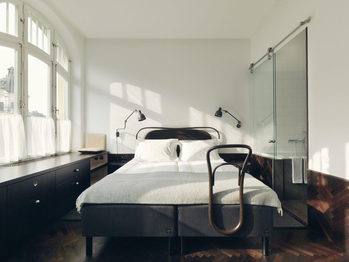 Hotels Stockholm Sweden indoor wall floor bed frame furniture room bed Architecture window interior design mattress product design Bedroom