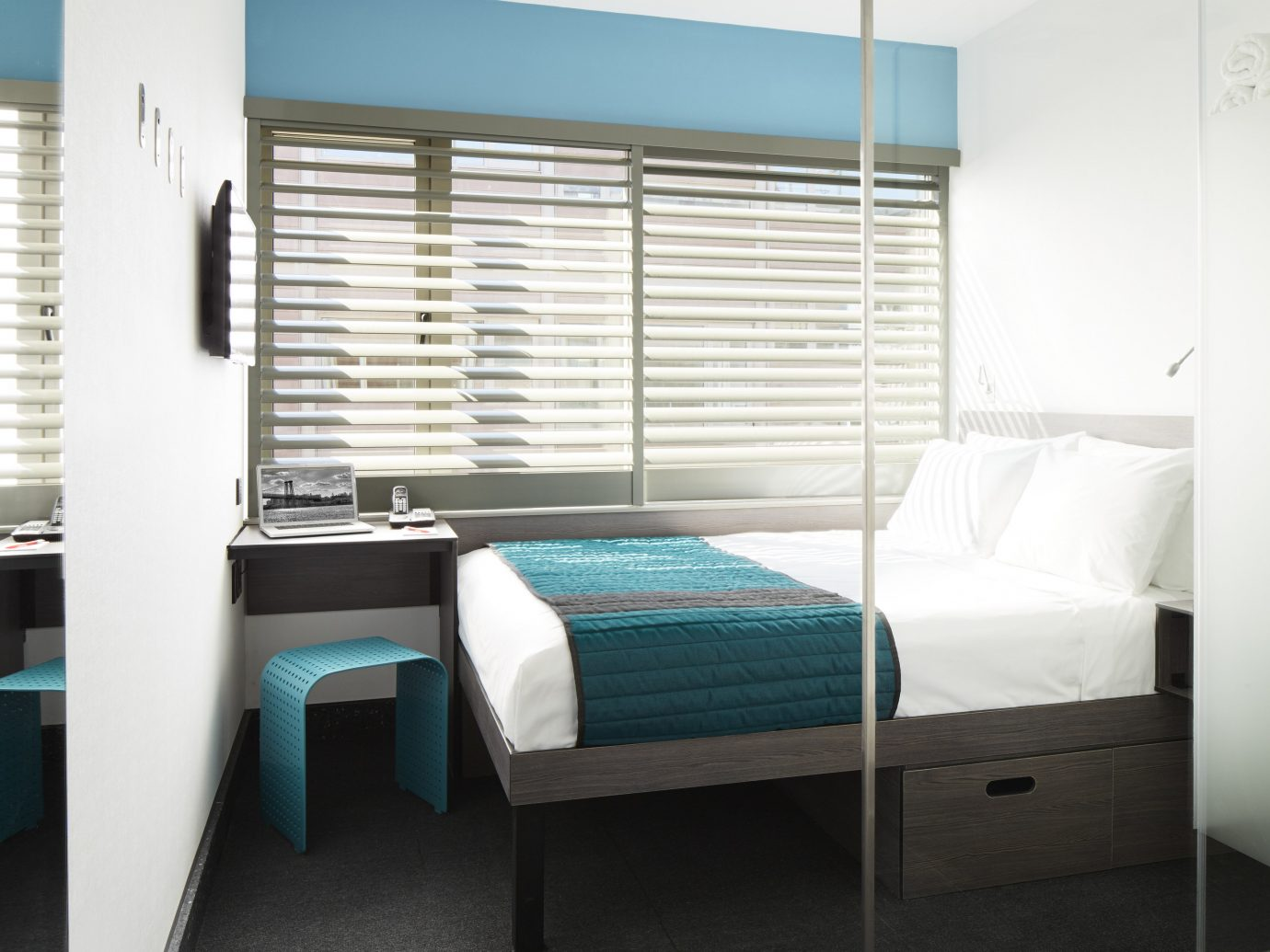 Hotels floor indoor wall room bed property window furniture interior design Bedroom window covering condominium Design real estate apartment Suite window treatment area