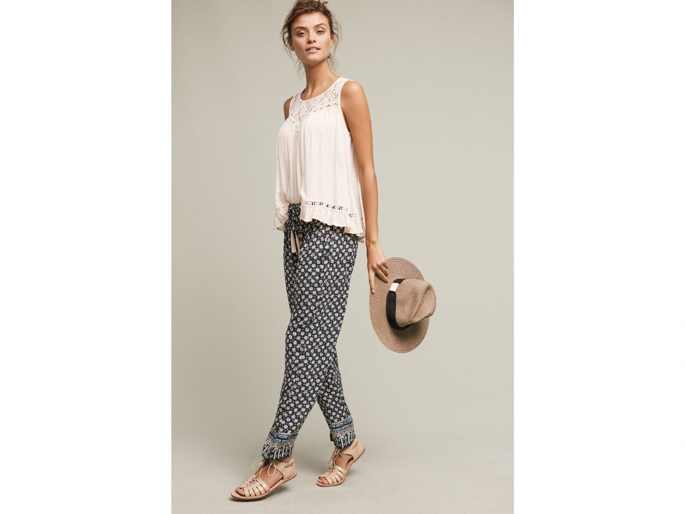 Style + Design clothing posing person sleeve standing pattern dress spring polka dot Design t shirt fashion trousers jeans abdomen photo shoot textile neck blouse